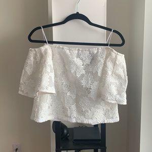 NWOT Nicholas white lace off shoulder blouse